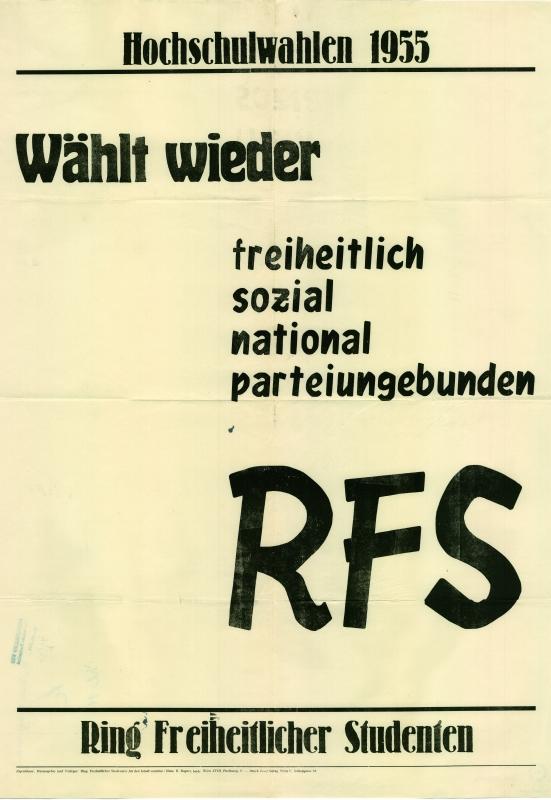 """Plakat des RFS zur ÖH-Wahl 1955 - """"Wählt wieder freiheitlich, sozial, national, parteiungebunden - RFS"""" - Bildquelle: ÖNB-BA, InvNr PLA16550505"""