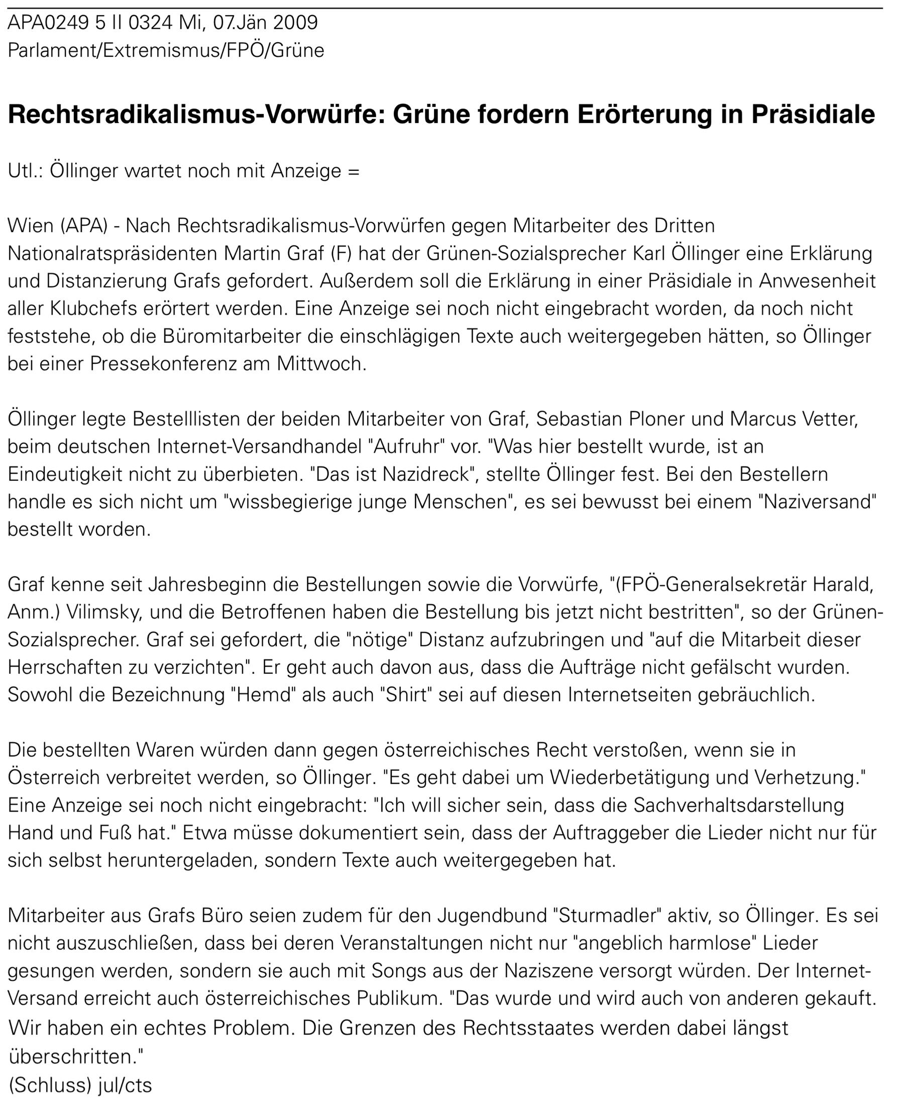 APA-Meldung über die Pressekonferenz von Karl Öllinger am 7.1.2009 zu Grafs Mitarbeiter