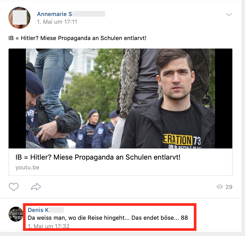 "Kommentar: ""Das endet böse... 88"" (vk.com 1.5.19)"