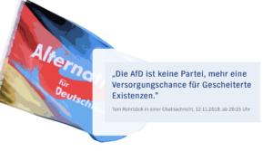 """Rohrböck in einer Chatnachricht 2018: """"Die AfD ist keine Partei, mehr eine Versorgungschance für Geschieterte Existenzen."""" (Quelle: https://story.ndr.de/afd-netzwerk-rohrboeck/index.html)"""