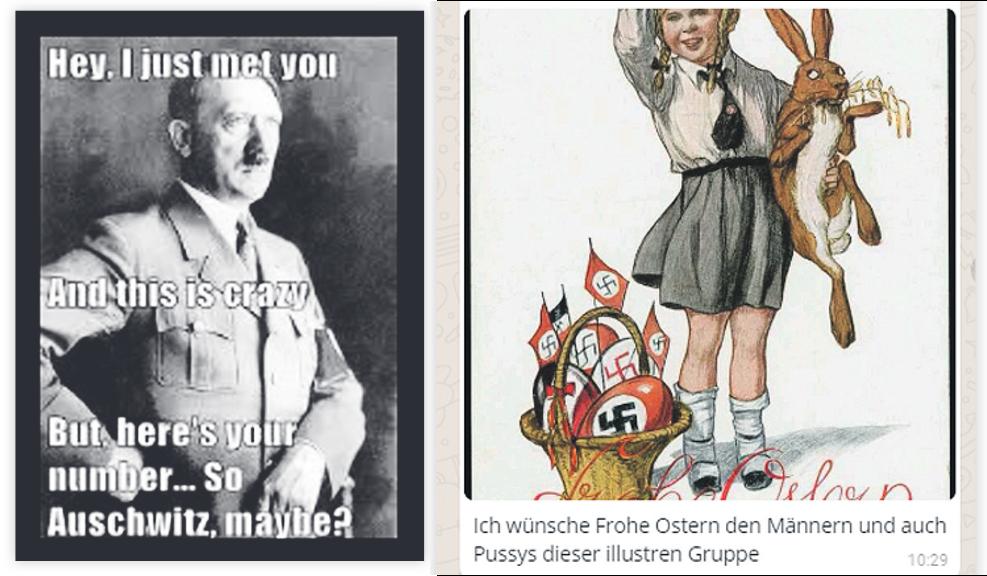 Zwei der Bilder und Memes aus dem Chatprotokoll der Whatapp-Gruppe - Bildquelle: Falter