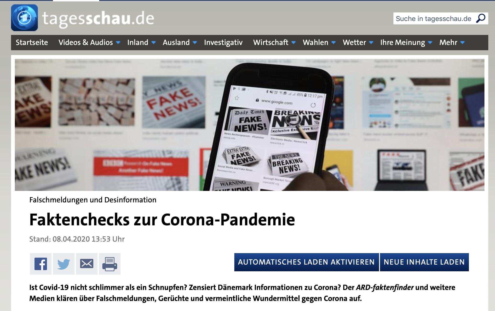 ARD-Faktenfinder zur Corona-Pandemie