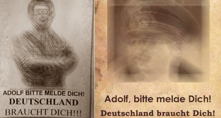 """Das """"Adolf bitte melde dich, Deutschland braucht dich"""" ist ein bekanntes Nazi-Sujet, das seit Jahrzehnten verbreitet wird, durch die sozialen Medien umsomehr. (Von uns wurde das Bild etwas verwackelt.)"""