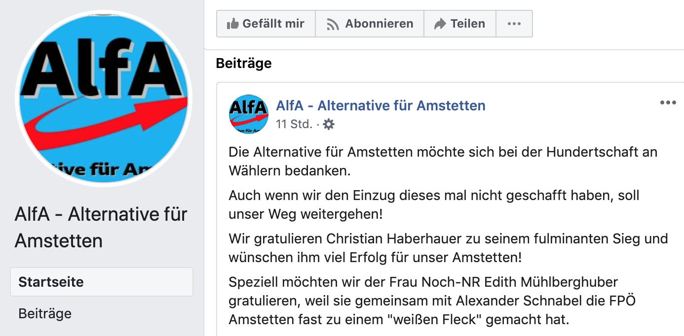 """Die Alternative für Amstetten bedankt sich bei der """"Hundertschaft an Wählern"""" und bei Edith Mühlberghuber (Sreenshot FB)"""