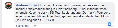 """Andreas Hofer bei Landogart: """"Oh schön! Da werden rinnerungen an einen Teil meiner Offiziersausbildung in Linz-Ebelsberg / Hiller-kaserne wach, ehemals Kaserne der 4. SS-Totenkopfstandarte 'Ostmark'. Wünsche einen wunderschönen Aufenthalt. geteru dem alten deutschen Motto: 'in Linz beginnt's'! FIDUCIT!"""""""