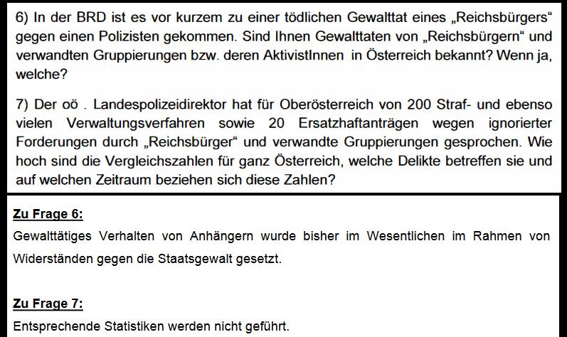 Dem Parlament gibt Minister Sobotka (BMI) die Auskunft, keine Statistiken zu Reichsbürgern zu führen - der Chef des BVT im BMI hat kurz darauf die Zahlen.