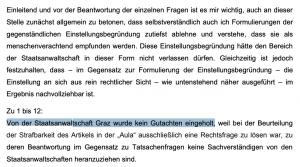 """Anfragebeantwortung 2016 durch den damaligen Justizminister Brandstetter: """"Von der Staatsanwaltschaft wurde kein Gutachten eingeholt ..."""""""