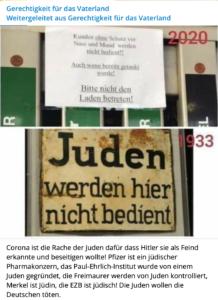 """Antisemitismus auf TG: """"Corona ist die Rache der Juden ..."""""""
