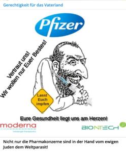 """Impfungen und Antisemitismus: """"Nicht nur die Pharmakonzerne sind in der Hand vom ewigen Juden dem Weltparasit!"""""""