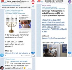 """Antisemitismus in österr. Corona-Leugner-Gruppen; auf """"Fairdenken"""" wird aus offen neonazistischem Kanal geteilt (Quelle: Schwurbewatch Wien)"""