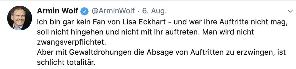 """Auch Armin Wolf distanziert sich von den imaginären """"Gewaltdrohungen"""" (Twitter)"""