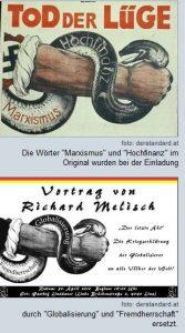 Die Arminia Czernowitz lädt zu einer Veranstaltung - das Poster nimmt Anleihen an einem NS-Sujet.