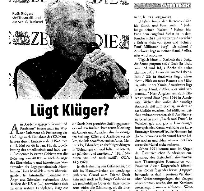 """Duswald 2011 in der Aula: """"Lügt Klüger?"""""""