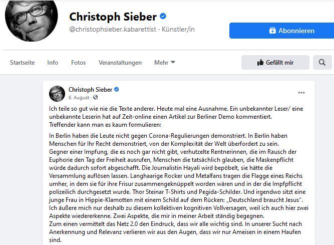 Posting Christoph Sieber zur 1. größeren Corona-Demo in Berlin (Ausschnitt)