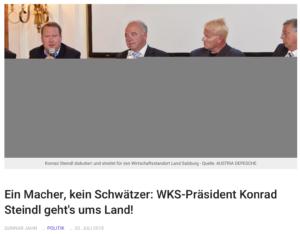 """Die """"Austria Depesche"""" lobbyiert für Konrad Steindl – bis 2013 ÖVP-NR-Abg., danach bis 2019 Salzburger Wirtschaftskammerpräsident. 2.v.l: Tom Rohrböck (Quelle: Austria Depesche)"""