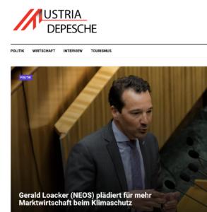 """Gerald Loacker (Neos) auf der (derzeitigen) Startseite auf der """"Austria Depesche"""""""