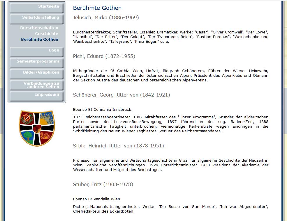 """Auszug """"berühmte"""" Gothen"""