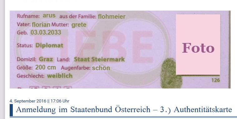 """AnhängerInnen der Freeman, des Staatenbund Österreich und der Reichsbürger stellen sich eigene Führerscheine, """"Authentitätskarten"""" usw. aus. Den Führerschein der Republik Österreich ist der Kärntner nun jedenfalls los."""