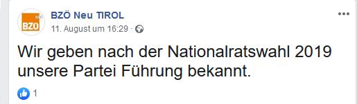 BZÖ Neu Tirol: Führung noch unbekannt