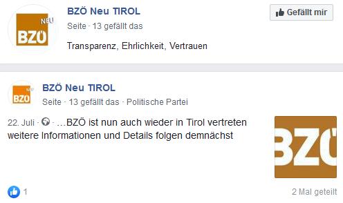 BZÖ neu Tirol Motto: Transparenz, Ehrlichkeit, Vertrauen