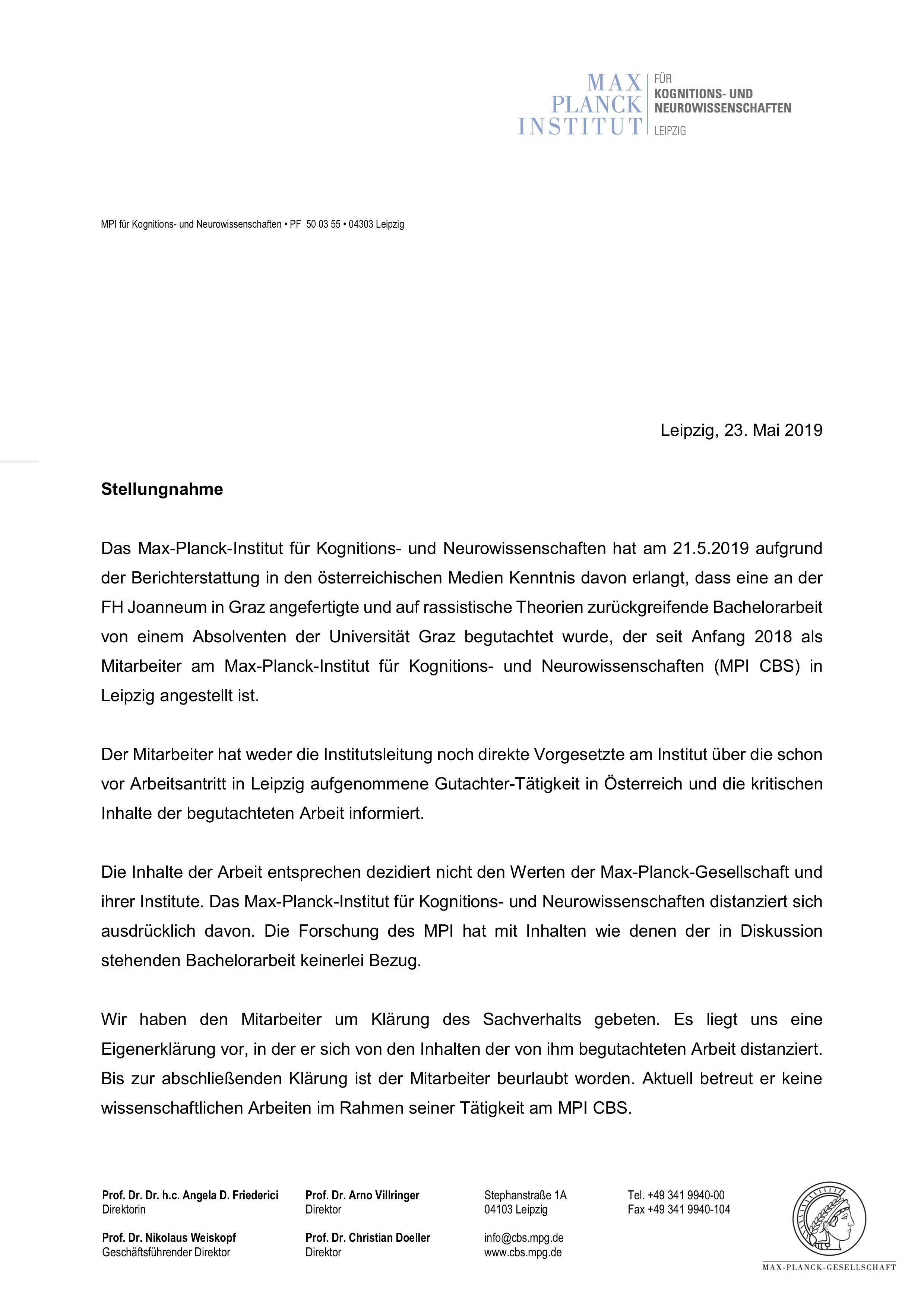 Stellungnahme des Max-Planck-Instituts Leipzig zur Begutachtung der rassistischen Bachelorarbeit (23.05.2019)