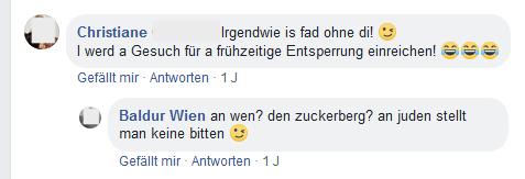 Unterhaltung zur Facebook-Sperre von Wolfgang L.