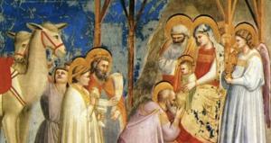 Anbetung der Könige; Fresko in der Scrovegni-Kapelle von Giotto di Bondone (um 1303) – Ausschnitt