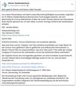 """Vortragsankündigung für den 19. Nov. – Belsky beim WAB: """"unter Corona-gerechten Bedingungen"""""""