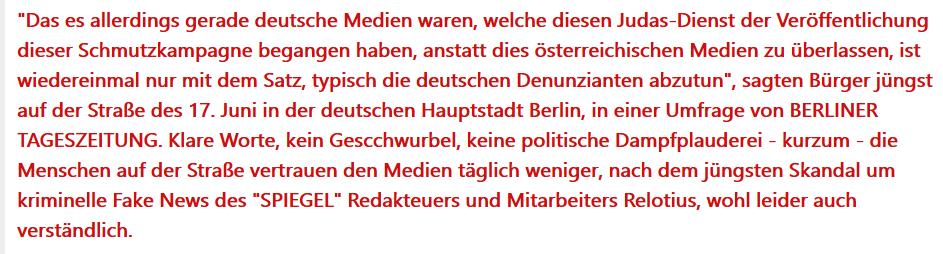 Berliner Tageszeitung: Screenshot mit Gerüchten und Fehlern