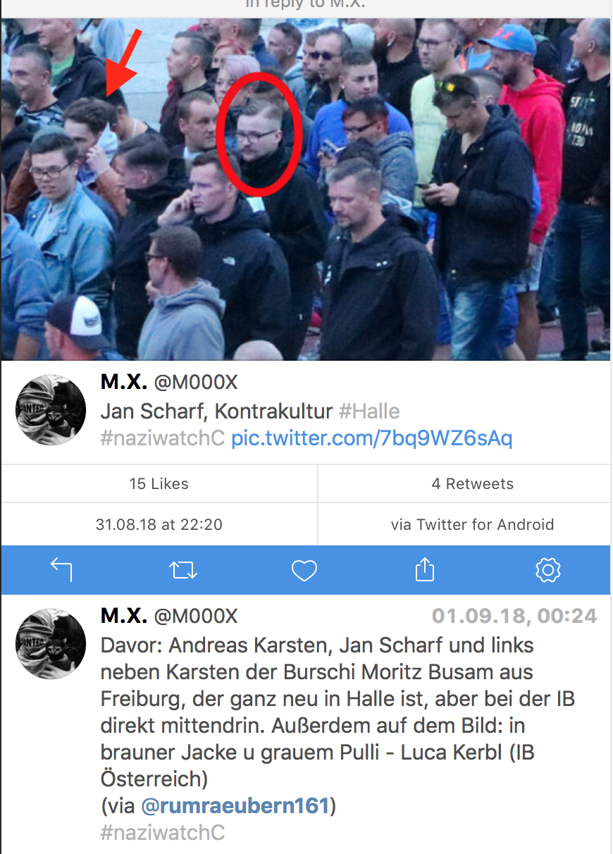 Luca Kerbl (roter Pfeil) am 27.8.18 in Chemnitz, als die verabredeten Hetzjagden stattfanden