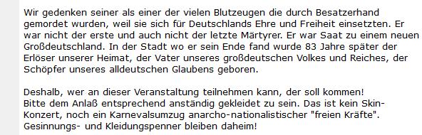 """Neonazi """"Dr. Brandt"""" zum Palm-Gedenken 2006: Anlass und Kleiderordnung"""