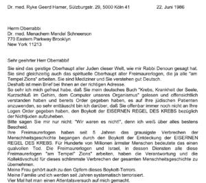Wüst antisemitischer Brief Hamer an Mendel Schneerson