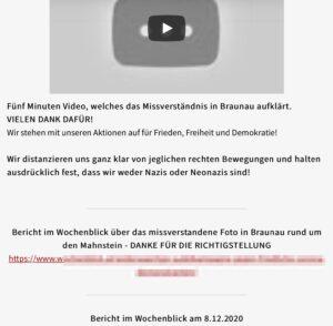 """""""Hygienediktatur"""": Gelöschtes Video und Verweis auf eine """"Richtigstellung"""" im Wochenblick"""