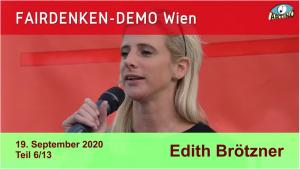 """Edith Brötzner bei bei der """"Fairdenken""""-Demo am 19.9.20 in Wien"""