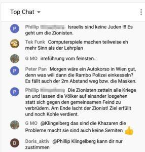 YT-Chat: Antisemitismus während der sog. Gedenkveranstaltung