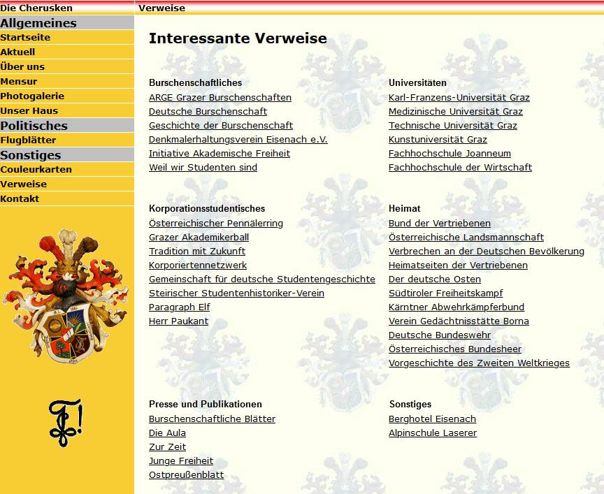 Die Links auf der Cheruskia-Website 2009