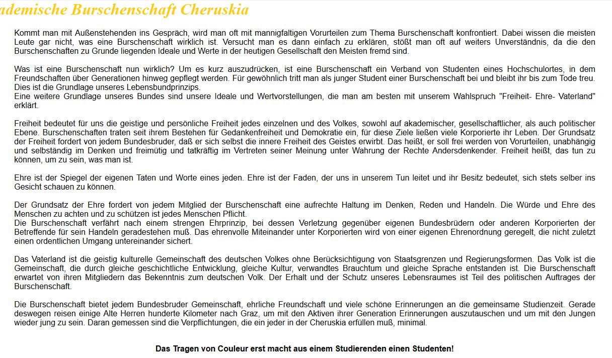 Die Cheruskia übers Vaterland