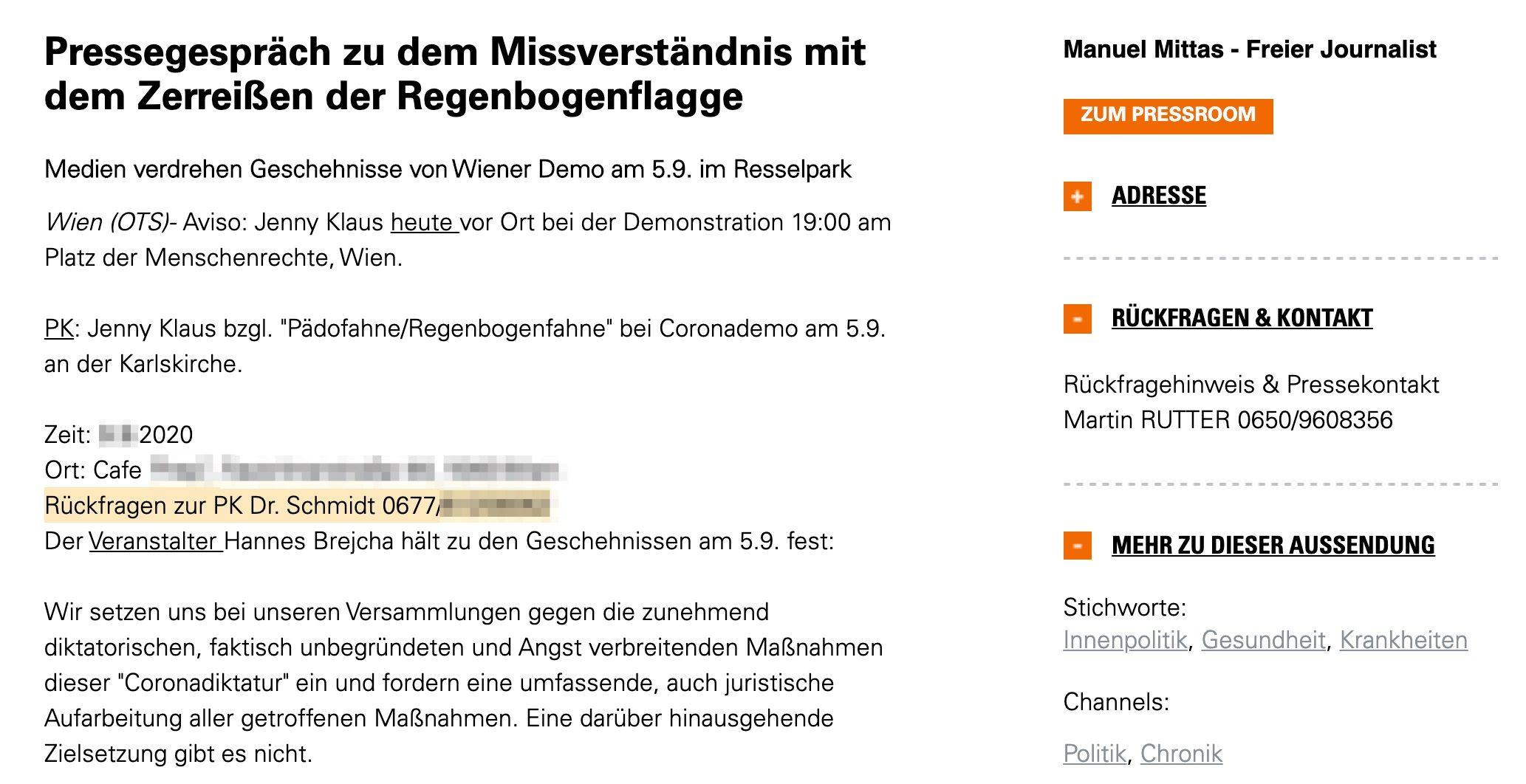 """Presseaussendung der Corona-""""Querdenker"""": """"Rückfragen zur PK Dr. Schmidt""""; Rutter als Pressesprecher"""