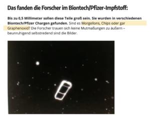 """Corona-Schwachsinn im Wochenblick: Impfstoff mit """"Morgellons, Chips oder Graphenoxid"""" (Screenshot 22.9.21)"""
