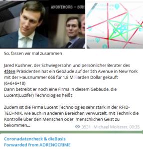 "Jared Kushner auf Belskys Telegram-Kanal ""Coronadatencheck"""