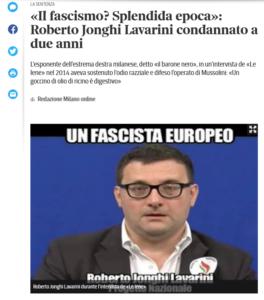Corriere della Sierra: Schlagzeile zur Verurteilung von Jonghi Lavarini
