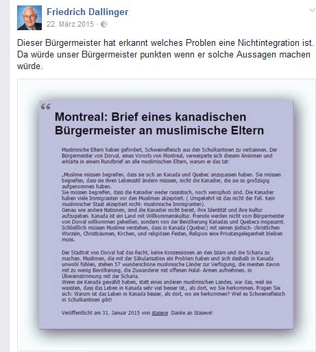 Auf der Faceboook-Seite von Friedrich Dallinger (Bezirksrat FPÖ Favoriten) werden auch Meldungen nicht entfernt, die längt widerlegt sind.