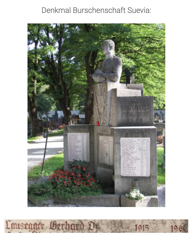 """Denkmal der Suevia am Friedhof Innsbruck mit der Inschrift """"Lausegger Gerhard"""" (Foto: novemberpogrom1938.at)"""
