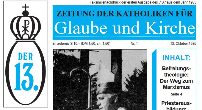 """Ausgabe 1 von """"Der 13."""", 1985"""