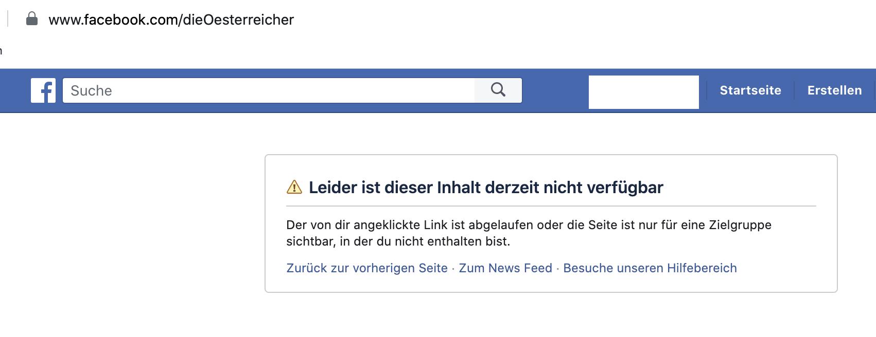 """""""Die Österreicher"""" auf Facebook gesperrt"""