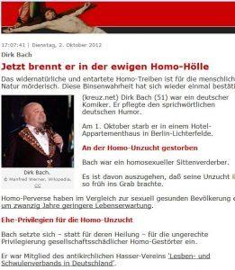 kreuz.net: Schwulenfeindliche Hetze gegen einen Toten