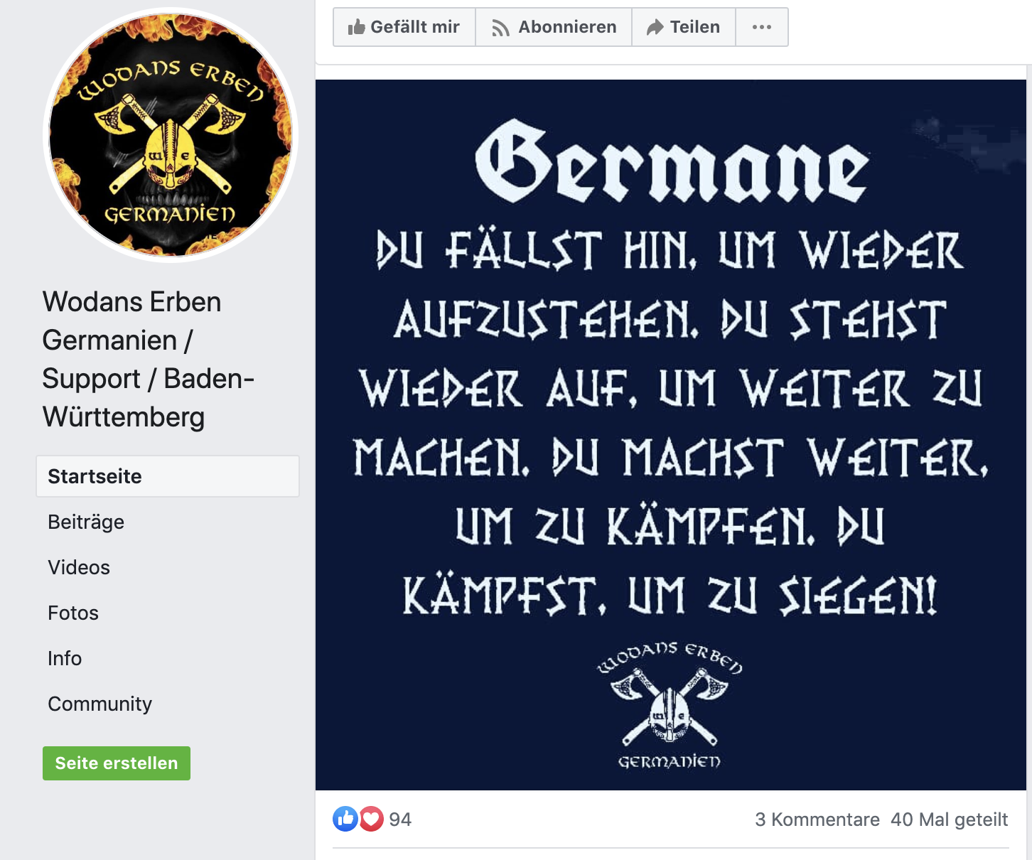 """Posting am Tag nach Hanau: """"Germande Du fällst hin, um wieder aufzustehen ...Du kämpfst, um zu siegen"""" Mit Likes aus Österreich"""