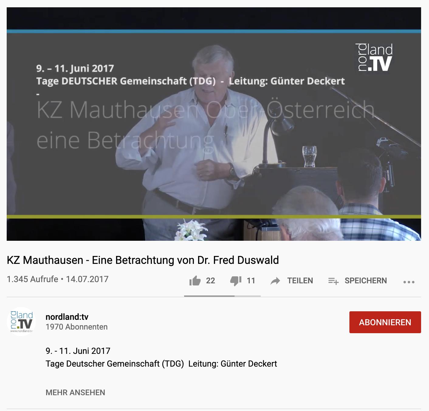 Duswald-Vortrag auf Youtube (im Bild Günter Deckert bei der Einleitung; Video ist inzwischen gelöscht)