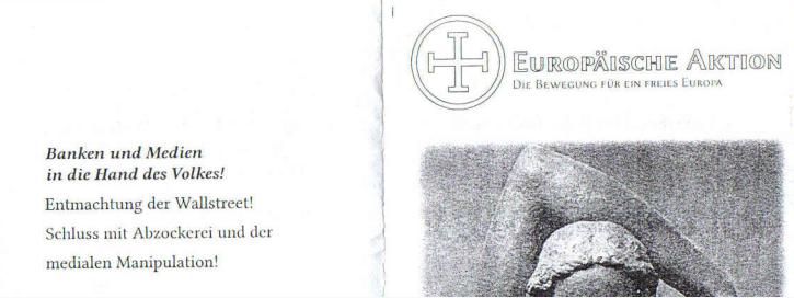 """Politisches Programm der EA: u.a. die """"Entmachtung der Wallstreet"""" und alles in/durch """"die Hand des Volkes"""" (Ausschnitt aus einem Flyer der EA)"""