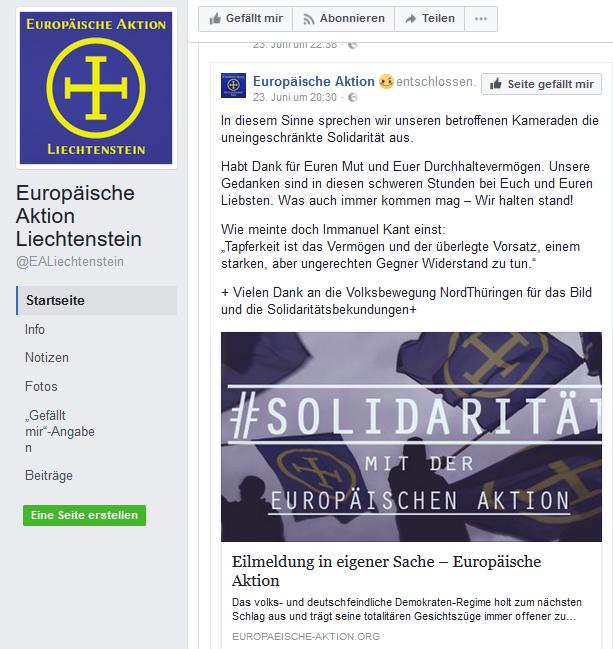 """Die """"Europäische Aktion Liechtenstein"""" erklärt sich solidarisch mit den Betroffenen der Razzia. Die Dankesworte für die Überlassung des Bildes zeigt die enge Verbindung zwischen den verschiedenen EA-Teilorganisationen"""
